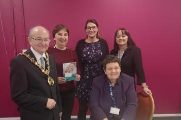 Care Home Information Day, speakers and staff with the mayor