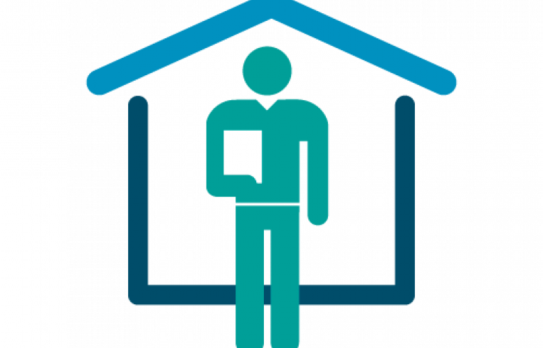 Man in front of building graphic